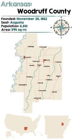woodruff: Large and detailed map of Arkansas - Woodruff county