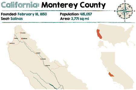 Large And Detailed Map Of California Monterey County Royalty Free