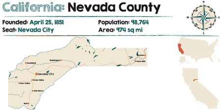 nevada: Large and detailed map of California - Nevada county Illustration