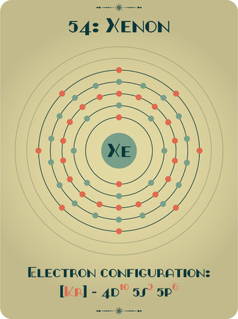 Large and detailed atomic model of Xenon Illustration
