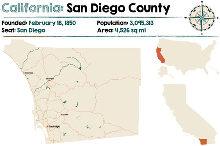 Large and detailed map of California - San Diego county