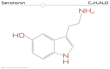 Large and detailed illustration of the molecule of serotonin