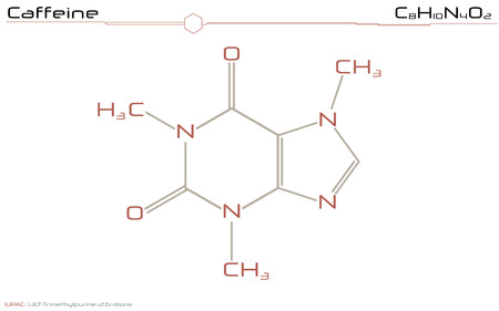 Large and detailed illustration of the molecule of caffeine