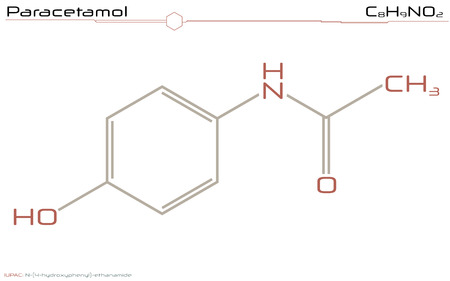 Large and detailed illustration of the molecule of paracetamol