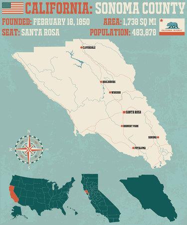 캘리포니아 소노마 카운티의 크고 상세한지도.