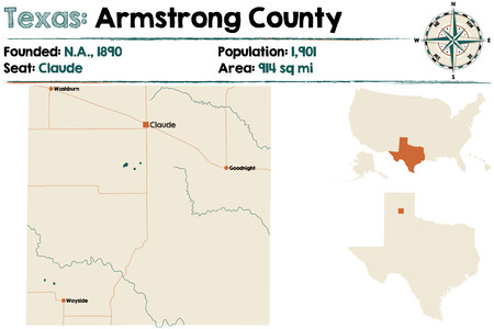 Detailed map of Armstrong county in Texas, United States