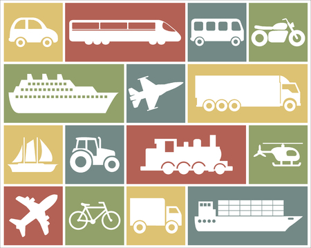 Large and detailed set of different vehicle icons Stock Illustratie