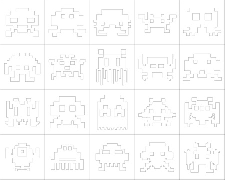 Large and detailed icon set of pixel monsters Illustration