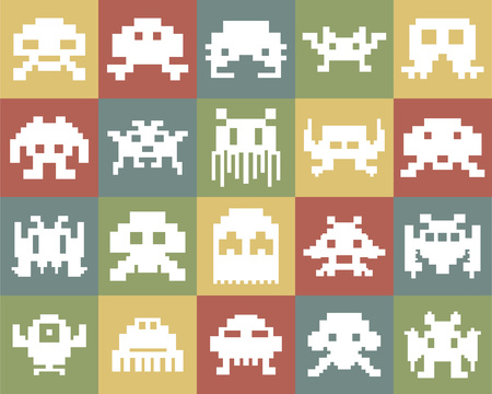 Large and detailed icon set of pixel monsters