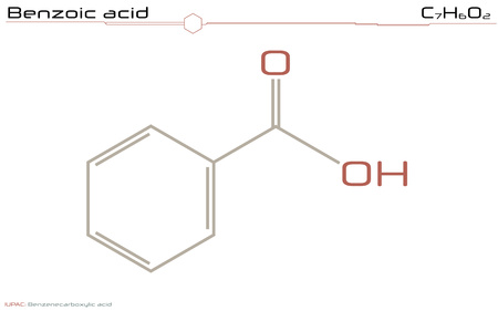 Large and detailed infographic of the molecule of Benzoic acid