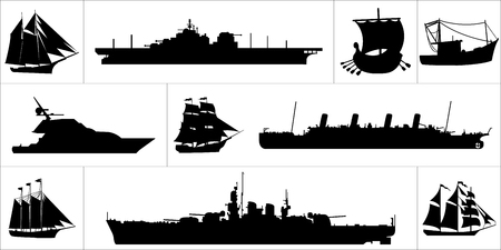 Large and black icon set of various ships.