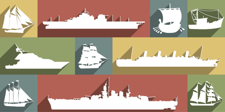 Large white icon set of different ships