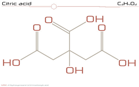 Large and detailed info-graphic of the molecule of citric acid.