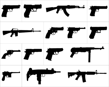 Large and detailed icon set of different weapons vector illustration.