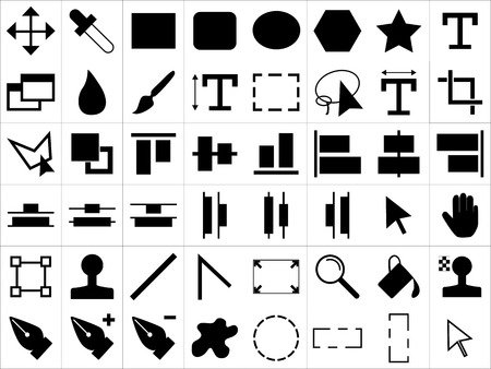 Large and detailed icon set of design tools Stock Vector - 98012556
