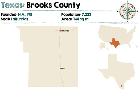 Detailed map of Brooks County in Texas, USA.  イラスト・ベクター素材