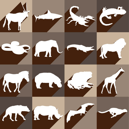 Large and detailed icon set of different african animals