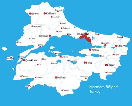 Large map of the turkish area of ??Marmara Boelgesi.
