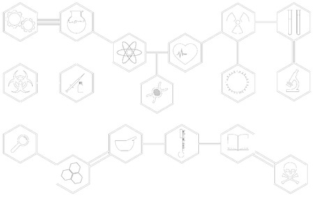 Large and detailed set of different scientific icons and vectors.