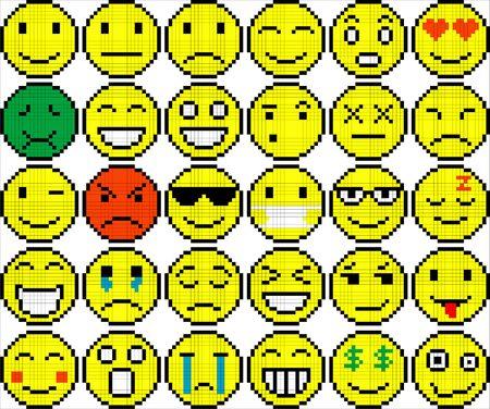 Set of different colored pixel art emoticons. Illustration