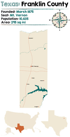 Detailed map of Franklin County in Texas, USA.