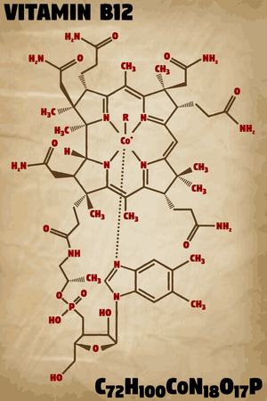 Detailed infographic illustration of the molecule of vitamin B12. Иллюстрация