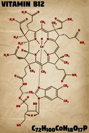 Detailed infographic illustration of the molecule of vitamin B12. Illustration