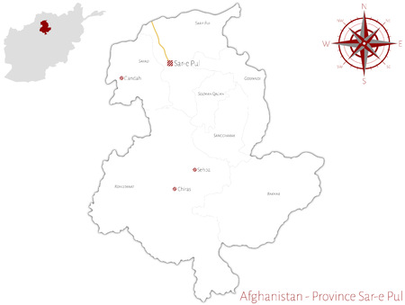 Large and detailed map of the Afghanistan province of Sar-e Pul.
