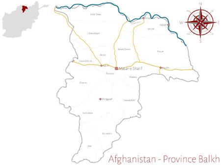 Large and detailed map of the afghan province of Balkh. Ilustração