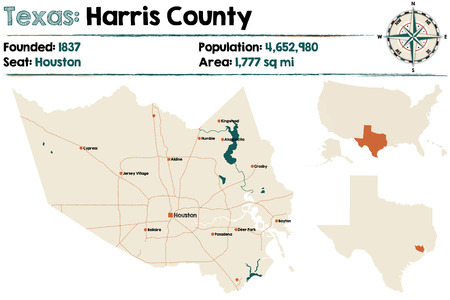 Detailed map of Harris County in Texas, USA. Illustration