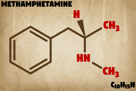 Detailed infographic illustration of the molecule of methamphetamine.
