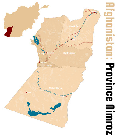 Mapa grande y detallado de la provincia afgana de Nimroz.
