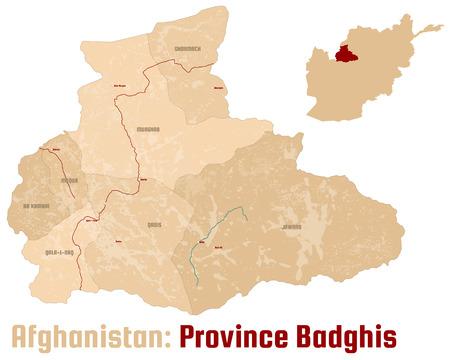 Mapa grande y detallado de la provincia afgana de Badghis.