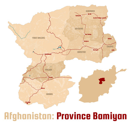 Large and detailed map of the Afghan province of Bamiyan.