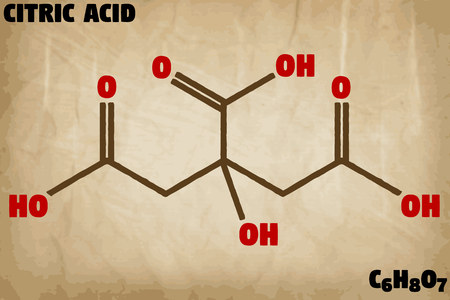 Detailed infographic illustration of the molecule of citric acid 向量圖像