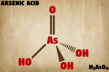 Detailed infographic illustration of the molecule of arsenic acid