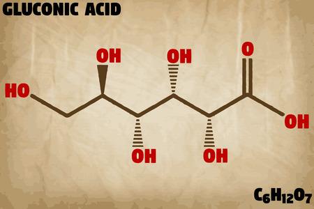 Detailed infographic illustration of the molecule of gluconic acid Foto de archivo - 109796329
