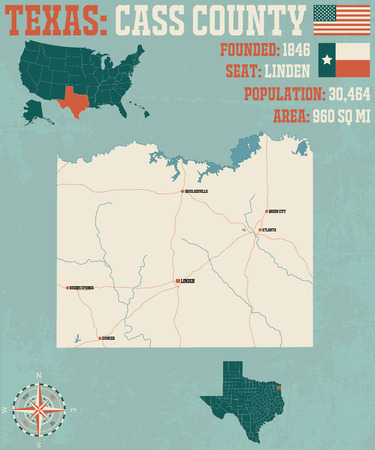 Detailed map of Cass County in Texas, United States Ilustração