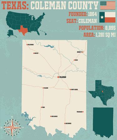 Detailed map of Coleman County in Texas, USA Ilustração