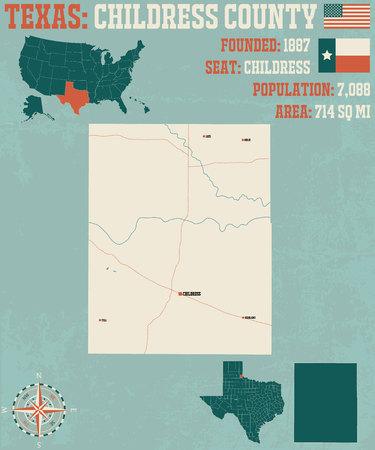 Detailed map of Childress County in Texas, USA Ilustração