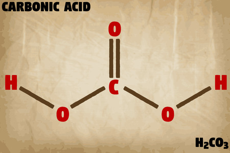 Detailed infographic illustration of the molecule of carbonic acid  イラスト・ベクター素材