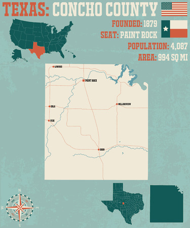 Detailed map of Concho County in Texas, USA
