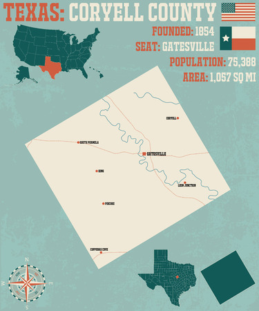 Detailed map of Coryell County in Texas, USA