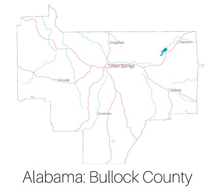 Detailed map of Bullock County in Alabama, USA