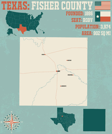 Detailed map of Fisher County in Texas, USA Ilustração