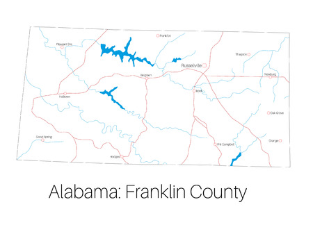 Detailed map of Franklin County in Alabama, USA  イラスト・ベクター素材