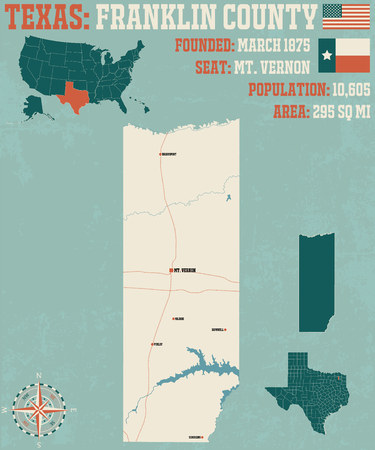 Detailed map of Franklin County in Texas, USA