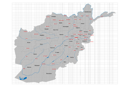 Large and detailed map of the state of Afghanistan. Ilustração