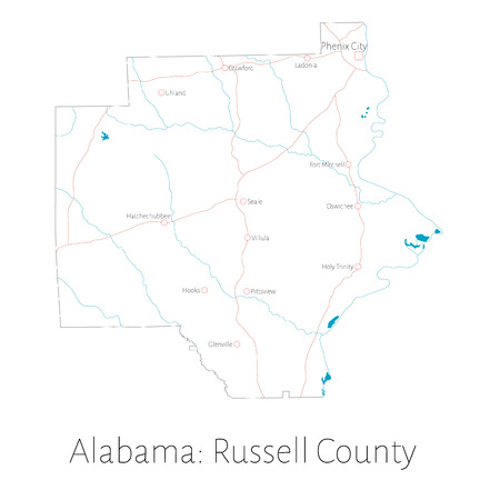 Detailed map of Russell County in Alabama, United States
