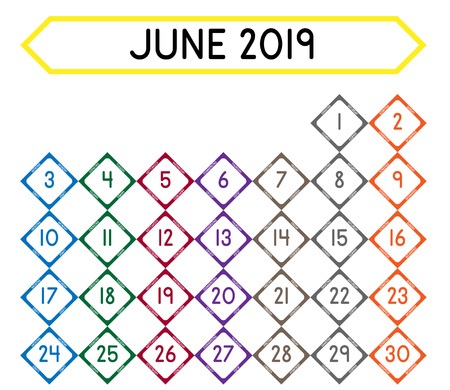 Detailed daily calendar of the month of June 2019